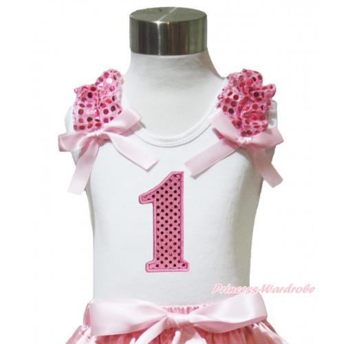 White Tank Top Light Pink Sequins Ruffles Light Pink Bow & 1st Sparkle Light Pink Birthday Number Print TB1003