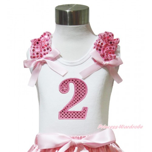 White Tank Top Light Pink Sequins Ruffles Light Pink Bow & 2nd Sparkle Light Pink Birthday Number Print TB1004