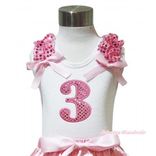 White Tank Top Light Pink Sequins Ruffles Light Pink Bow & 3rd Sparkle Light Pink Birthday Number Print TB1005
