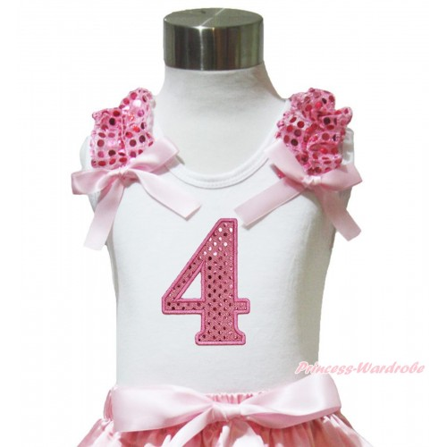 White Tank Top Light Pink Sequins Ruffles Light Pink Bow & 4th Sparkle Light Pink Birthday Number Print TB1006