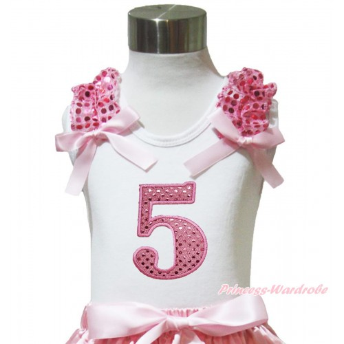 White Tank Top Light Pink Sequins Ruffles Light Pink Bow & 5th Sparkle Light Pink Birthday Number Print TB1007