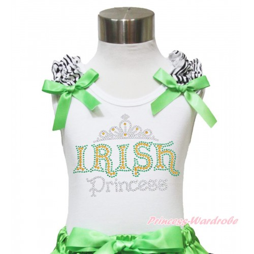 St Patrick's Day White Tank Top Zebra Ruffles Dark Green Bow & Sparkle Rhinestone IRISH Princess Print TB1012