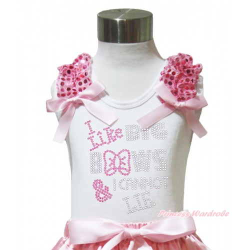White Tank Top Light Pink Sequins Ruffles Light Pink Bow & Sparkle Rhinestone I Like Big Bows Print TB1014