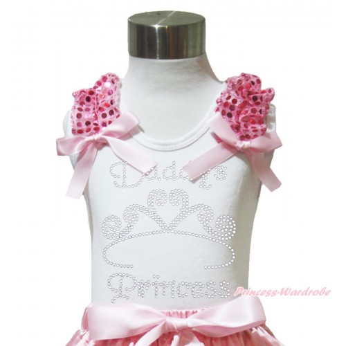 Valentine's Day White Tank Top Light Pink Sequins Ruffles Light Pink Bow & Sparkle Rhinestone Daddy's Princess Print TB1016