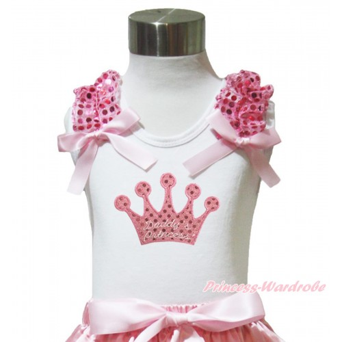 Valentine's Day White Tank Top Light Pink Sequins Ruffles Light Pink Bow & Sparkle Pink Daddy's Princess Crown Print TB1017