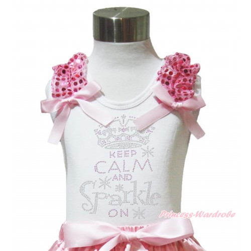 White Tank Top Light Pink Sequins Ruffles Light Pink Bow & Rhinetone Keep Calm And Sparkle On Print TB1018