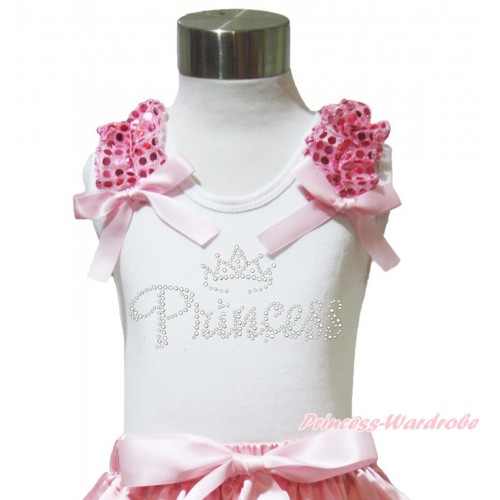 White Tank Top Light Pink Sequins Ruffles Light Pink Bow & Sparkle Rhinestone Princess Print TB1022