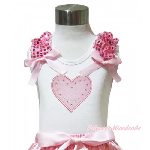 Valentine's Day White Tank Top Light Pink Sequins Ruffles Light Pink Bow & Light Pink Heart Print TB1023