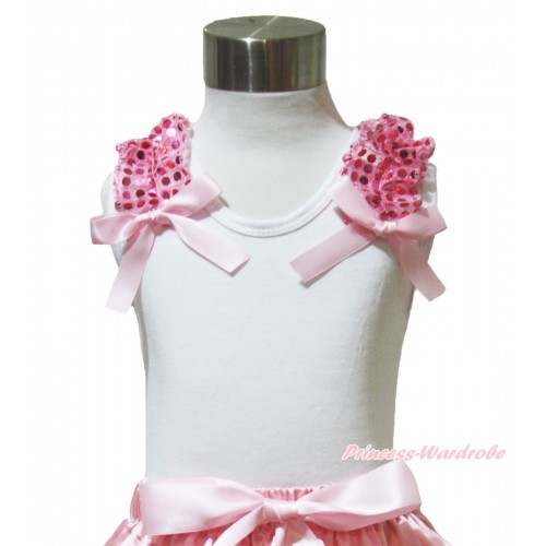 White Tank Top Light Pink Sequins Ruffles Light Pink Bow TB1024