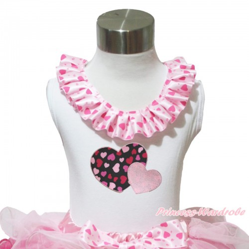 Valentine's Day White Tank Tops Light Hot Pink Heart Satin Lacing & Light Pink Sweet Twin Heart Print TB1027