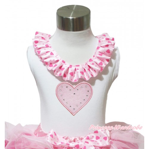 Valentine's Day White Tank Tops Light Hot Pink Heart Satin Lacing & Light Pink Heart Print TB1029