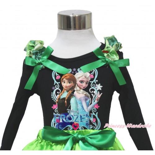 Frozen Black Long Sleeves Top Anna Coronation Ruffles Kelly Green Bow & Princess Anna Elsa Painting TO414