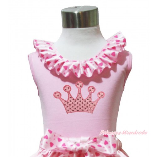 Light Pink Tank Tops Light Hot Pink Heart Satin Lacing & Sparkle Light Pink Crown Print TP231