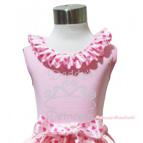 Valentine's Day Light Pink Tank Tops Light Hot Pink Heart Satin Lacing & Sparkle Rhinestone Daddy's Princess Print TP233