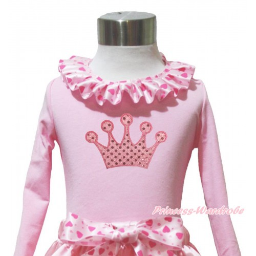 Light Pink Long Sleeves Top Light Hot Pink Heart Lacing & Sparkle Light Pink Crown Print TW558