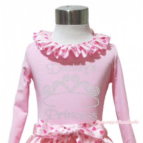 Valentine's Day Light Pink Long Sleeves Top Light Hot Pink Heart Lacing & Sparkle Rhinestone Daddy's Princess Print TW560