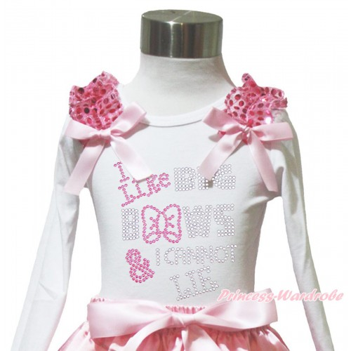 White Long Sleeves Top Light Pink Sequins Ruffles Light Pink Bow & Sparkle Rhinestone I Like Big Bows TW569