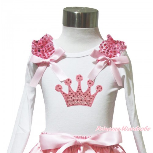 Valentine's Day White Long Sleeves Top Light Pink Sequins Ruffles Light Pink Bow & Sparkle Pink Daddy's Princess Crown TW571