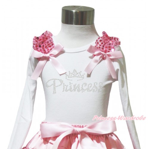 White Long Sleeves Top Light Pink Sequins Ruffles Light Pink Bow & Sparkle Rhinestone Princess TW576