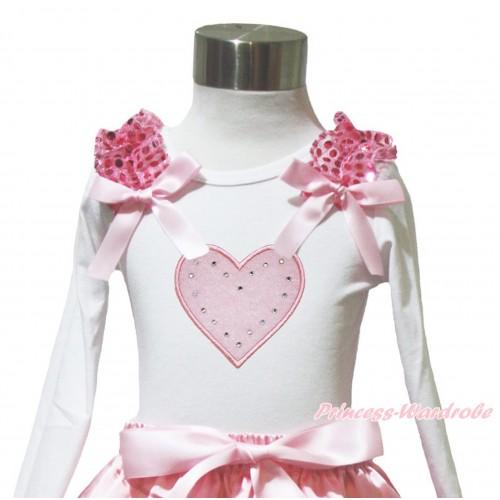 Valentine's Day White Long Sleeves Top Light Pink Sequins Ruffles Light Pink Bow & Light Pink Heart TW577