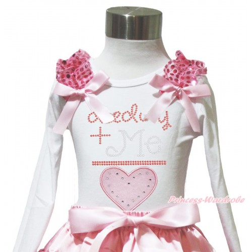 Valentine's Day White Long Sleeves Top Light Pink Sequins Ruffles Light Pink Bow & Sparkle Rhinestone Daddy Plus Me Is Love TW578