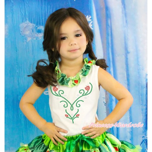 Frozen White Tank Top Anna Coronation Satin Lacing & Sparkle Rhinestone Princess Anna TB1032