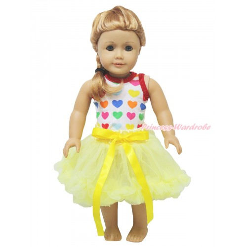 Valentine's Day Rainbow Heart Tank Top & Yellow Bow Pettiskirt American Girl Doll Outfit DO064