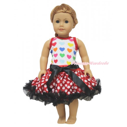 Valentine's Day Rainbow Heart Tank Top & Black Bow Minnie Dots Pettiskirt American Girl Doll Outfit DO065