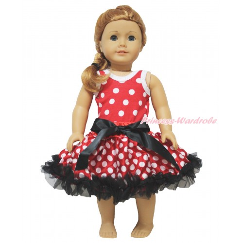 Minnie Dots Tank Top & Black Bow Minnie Dots Pettiskirt American Girl Doll Outfit DO066