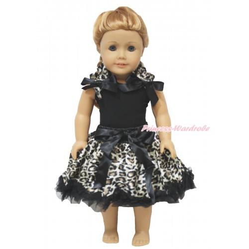 Black Tank Top Leopard Ruffles Black Bow & Black Leopard Pettiskirt American Girl Doll Outfit DO067