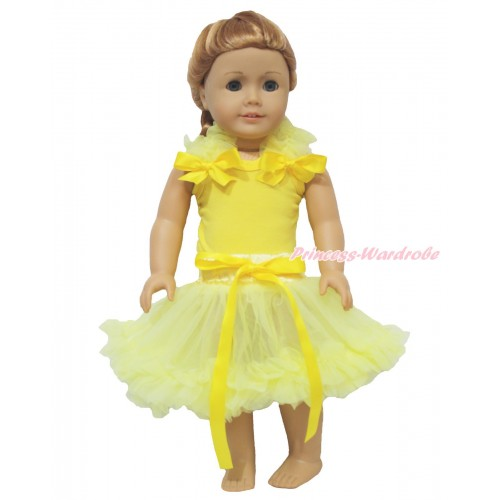 Yellow Tank Top Yellow Ruffles & Bow & Yellow Pettiskirt American Girl Doll Outfit DO069