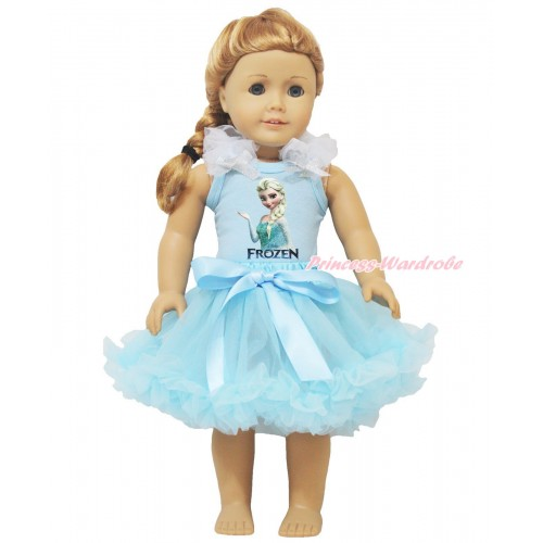 Frozen Light Blue Tank Top White Ruffles Sparkle Silver Grey Bows & Elsa Painting & Light Blue Pettiskirt American Girl Doll Outfit DO071