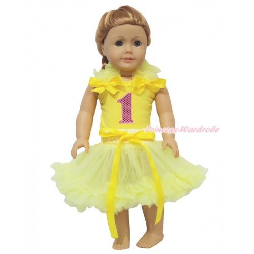 Yellow Tank Top Yellow Ruffles & Bows & 1st Sparkle Light Pink Birthday Number & Yellow Pettiskirt American Girl Doll Outfit DO078