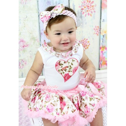Valentine's Day White Tank Top Light Pink Rose Fusion Satin Lacing & Light Pink Rose Heart Print & Light Pink Rose Fusion Pettiskirt MG1436