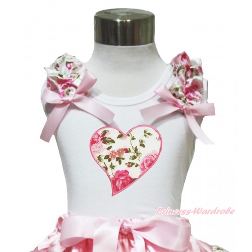 Valentine's Day White Tank Top Light Pink Rose Ruffles Light Pink Bow & Light Pink Rose Heart Print TB1000