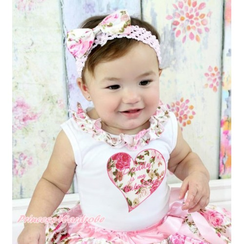 Valentine's Day White Tank Tops Light Pink Rose Fusion Satin Lacing & Daddy Is My Valentine Rose Heart Print TB1001