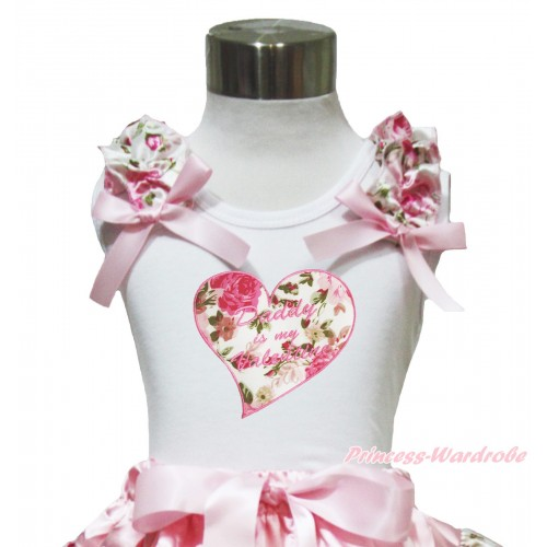 Valentine's Day White Tank Top Light Pink Rose Ruffles Light Pink Bow & Daddy Is My Valentine Rose Heart Print TB999