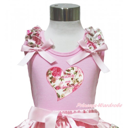 Valentine's Day Light Pink Tank Top Light Pink Rose Ruffles Light Pink Bow & Daddy Is My Valentine Rose Heart Print TP223