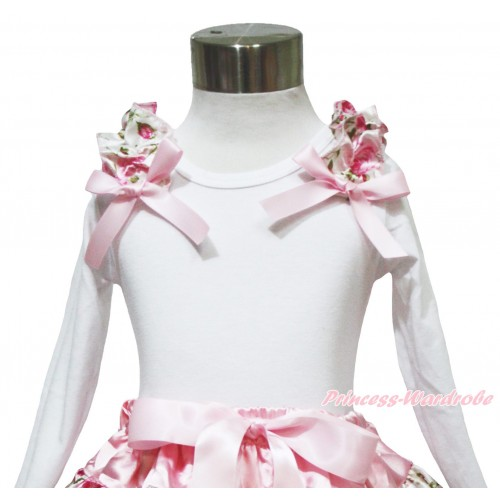 Valentine's Day White Long Sleeves Top Light Pink Rose Ruffles Light Pink Bow TW551