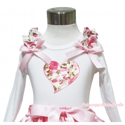 Valentine's Day White Long Sleeves Top Light Pink Rose Ruffles Light Pink Bow & Daddy Is My Valentine Rose Heart TW552