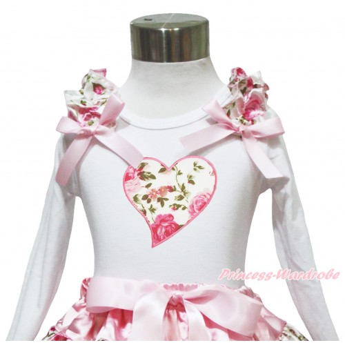 Valentine's Day White Long Sleeves Top Light Pink Rose Ruffles Light Pink Bow & Light Pink Rose Heart TW553