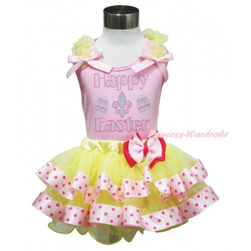 Easter Light Pink Baby Pettitop Yellow Ruffles Light Pink White Dots Bow & Rhinestone Happy Easter Print & Light Hot Pink Bow Yellow Light Hot Pink Dots Satin Trimmed Tutu Baby Pettiskirt BG188