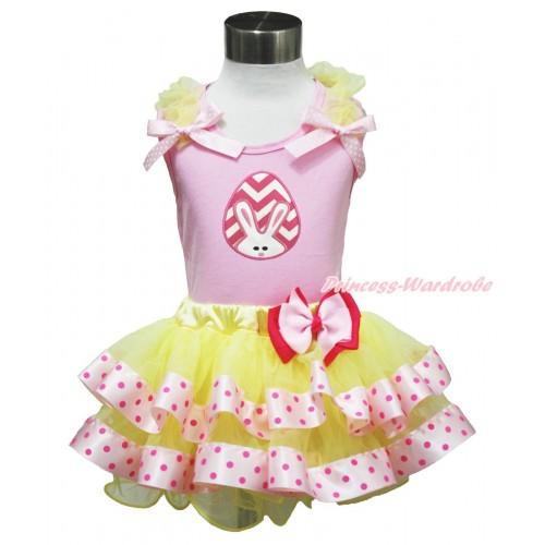 Easter Light Pink Baby Pettitop Yellow Ruffles Light Pink White Dots Bow & Pink White Chevron Rabbit Egg Print & Light Hot Pink Bow Yellow Light Hot Pink Dots Satin Trimmed Tutu Baby Pettiskirt BG189