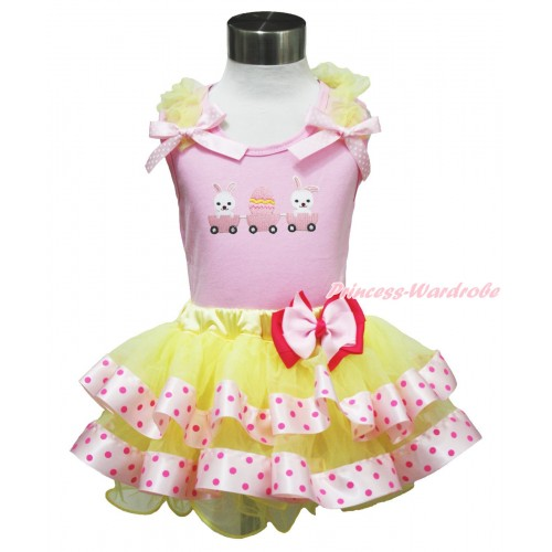 Easter Light Pink Tank Top Yellow Ruffles Light Pink White Dots Bow & Bunny Rabbit Egg Print & Light Hot Pink Bow Yellow Light Hot Pink Dots Satin Trimmed Tutu Pettiskirt M614