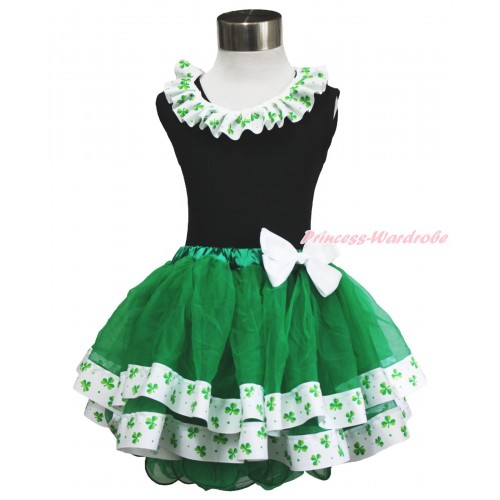 St Patrick's Day Black Tank Top Clover Satin Lacing & White Bow Kelly Green Clover Satin Trimmed Tutu Pettiskirt MG1477