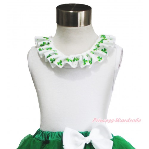 St Patrick's Day White Tank Top Clover Satin Lacing TB1034