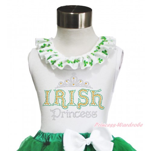 St Patrick's Day White Tank Top Clover Satin Lacing & Sparkle Rhinestone IRISH Princess TB1035
