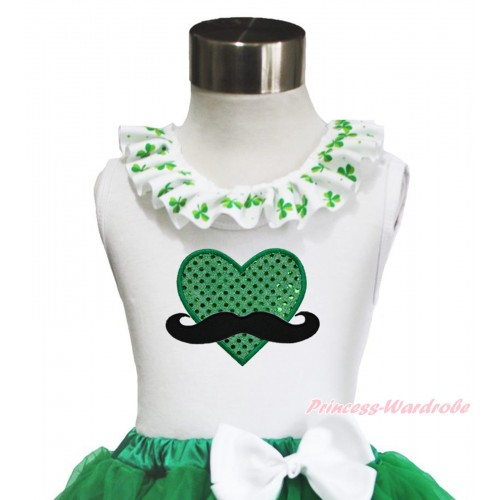 St Patrick's Day White Tank Top Clover Satin Lacing & Mustache Sparkle Kelly Green Heart TB1036