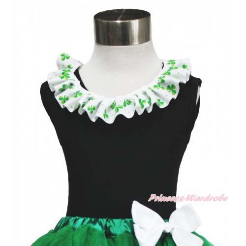 St Patrick's Day Black Tank Top & Clover Satin Lacing TB1038