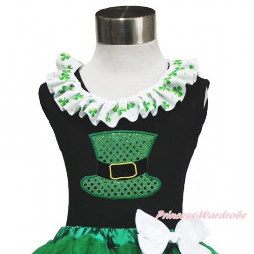 St Patrick's Day Black Tank Top Clover Satin Lacing & Sparkle Kelly Green Hat Print TB1041